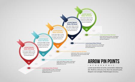 Vector illustration of Isometric Arrow Pin Points design element. Stock Illustratie