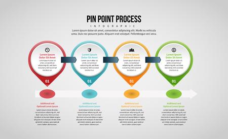 Vector illustration of Pin Point Process Infographic design element. Stock Illustratie