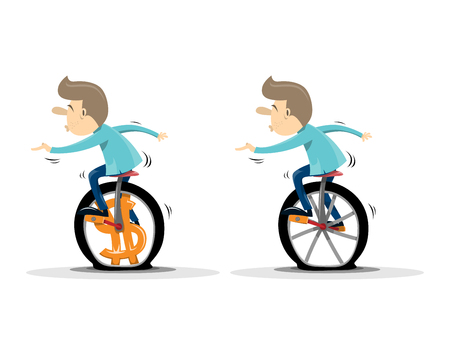 Vector illustration of a businessman on a monocycle or unicycle with a dollar wheel with normal wheel option.