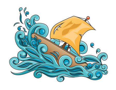 Ilustración de vector de un velero desafiando una tormenta.