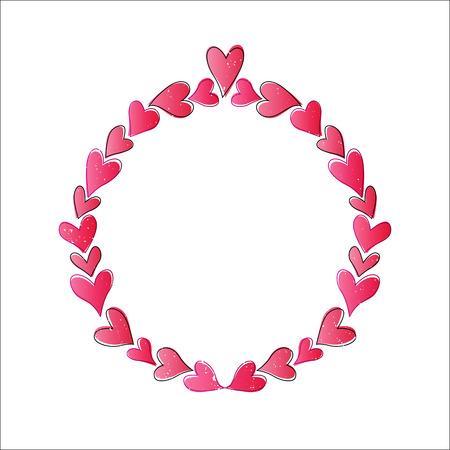 Vector illustration of heart shape circle frame for valentine background.