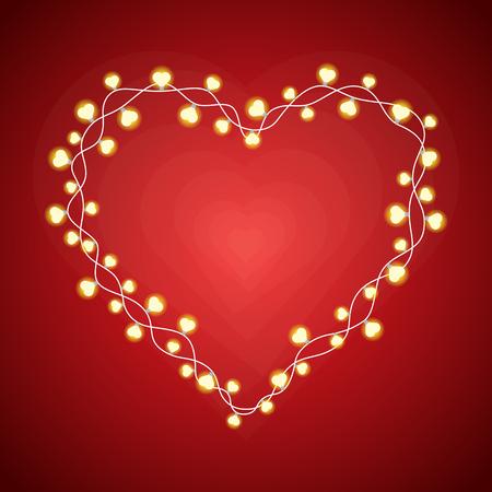 Vector illustration of heart-shaped lightbulbs forming a heart frame.