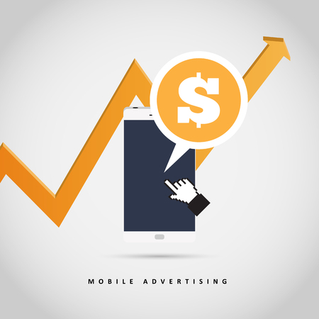 Vector illustration of mobile advertising concept design element.