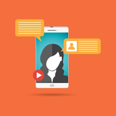 Vector illustration of female video call concept design element. 向量圖像
