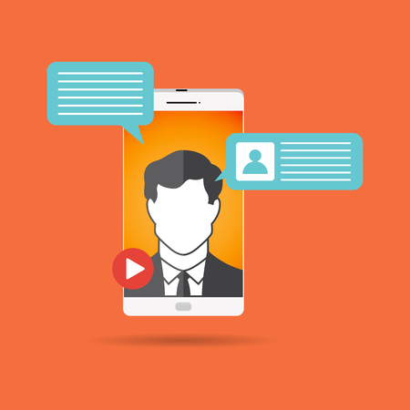 Vector illustration of male video call concept design element.