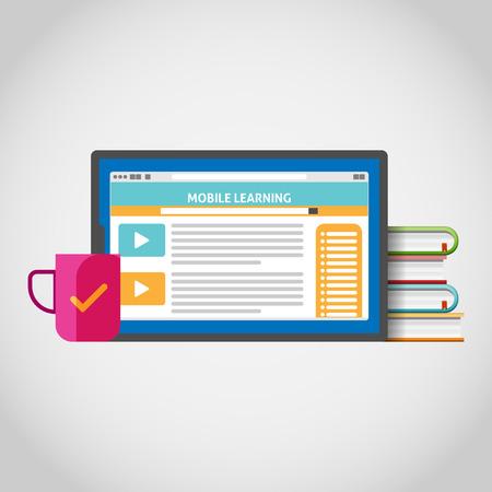 Vector illustration of mobile learning concept design element.