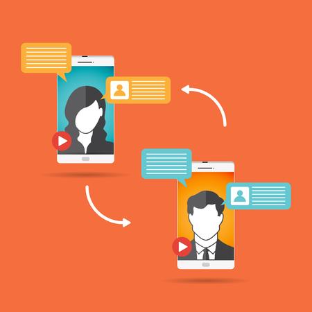 Vector illustration of mobile video conference concept design element. Stock Illustratie