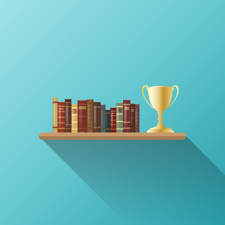Vector illustration of books and trophy on a shelf.
