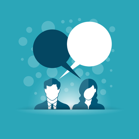 Vector illustration of communication concept with man and woman figure with talk bubbles. Stock Illustratie
