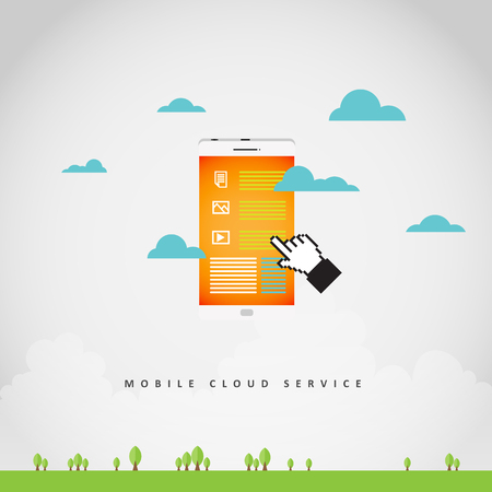 Vector illustration of mobile cloud service concept with phone in the sky.