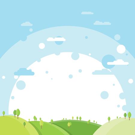 Vector illustration of green open landscape background.