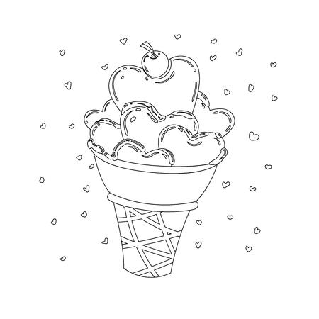 Vector illustration of line style hearts ice cream dessert. Stock Illustratie