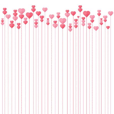 Vector illustration of hearts line background.