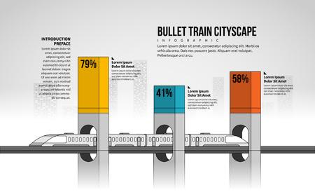 Vector illustration of Bullet Train Cityscape Infographic design elements. Stock Illustratie