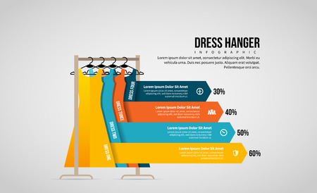Vector illustration of Dress Hanger Infographic design elements. Stock Illustratie