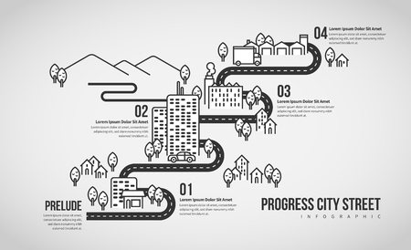 Vector illustration of Progress City Street Infographic design element. Stock Illustratie