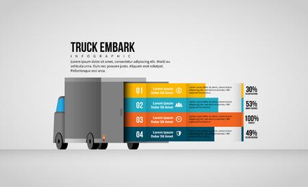 Vector illustration of Truck Embark Infographic design element.