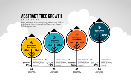 Vector illustration of Abstract Tree Growth Infographic design element.