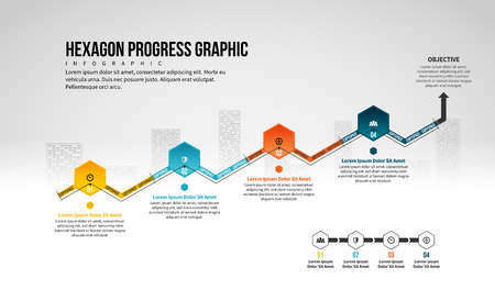 Vector illustration of Hexagon Progress Graphic design element.