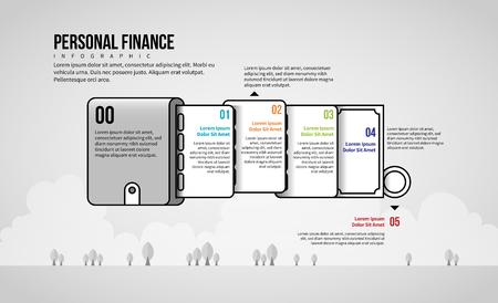 Vector illustration of Personal Finance Infographic design element. Stock Illustratie