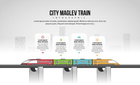 Vector illustration of City Maglev Train Infographic design element. Stock Illustratie