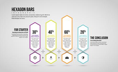 Vector illustration of Hexagon Bars Infographic design element.