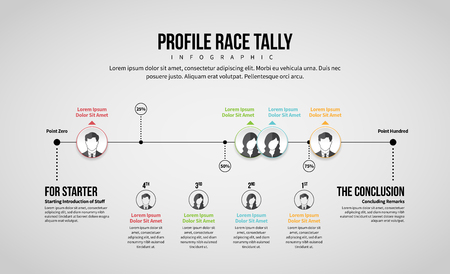 Vector illustration of Profile Race Tally Infographic design element.