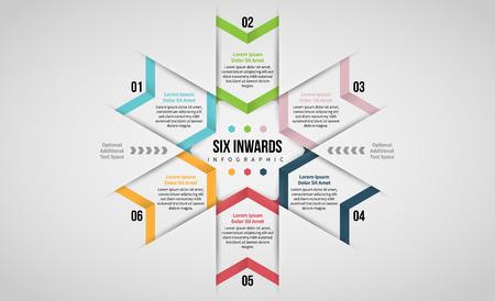 Vector illustration of Six Inwards Infographic design element.