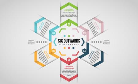 Vector illustration of Six Outwards Infographic design element. Stock Illustratie