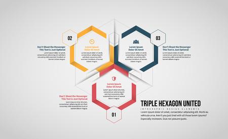 Ilustración de vector de elemento de diseño Triple Hexagon United Infographic.