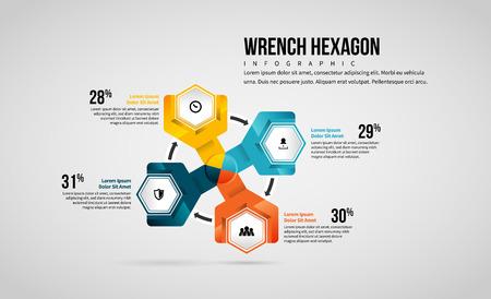Vector illustration of Wrench Hexagon Infographic design element.