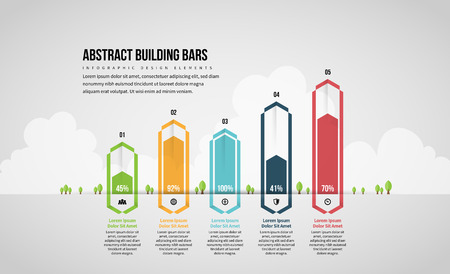 Vector illustration of Abstract Building Bars Infographic design element.
