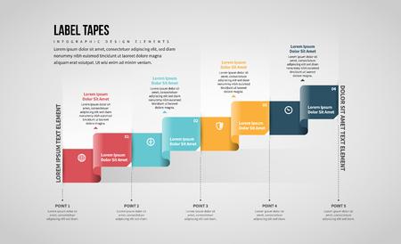 Vector illustration of Label Tapes Infographic design element. Stock Illustratie