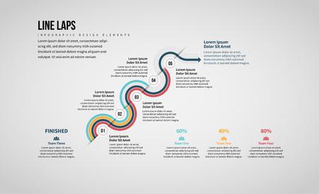 Vector illustration of Line Laps Infographic design element.