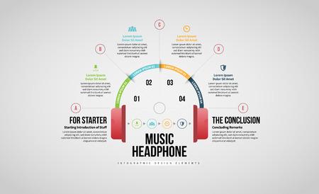 Vector illustration of Music Headphone Infographic design element.