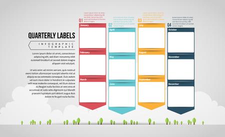 Vector illustration of Quarterly Calendar Labels design element. Stock Illustratie
