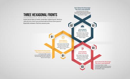 Vector illustration of Three Hexagonal Front Infographic design element.