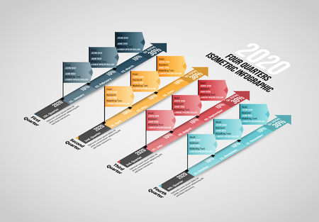Vector illustration of Four Quarters Isometric Infographic design element.