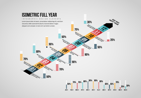 Vector illustration of Isometric Full Year Infographic design element.