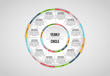 Vector illustration of Yearly Circle Infographic design element.