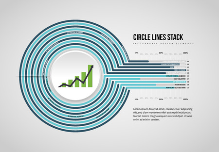 Vector illustration of Circle Lines Stack Infographic design element.