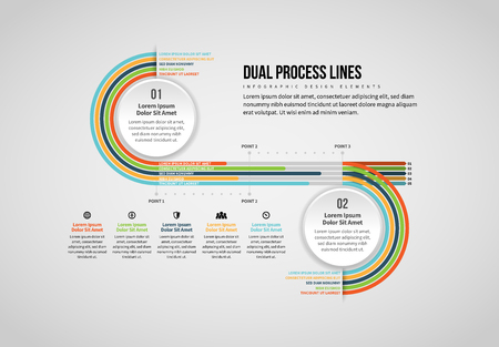 Vector illustration of Dual Process Lines Infographic design element. Stock Illustratie