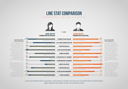 Vector illustration of Line Stat Comparison Infographic design element.