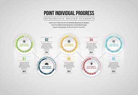 Vector illustration of Point Individual Progress Infographic design element.