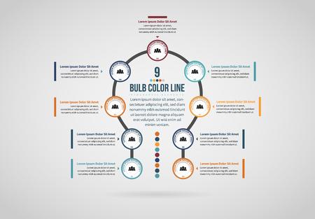 Vector illustration of Bulb Color Line Infographic design element. Stock Illustratie