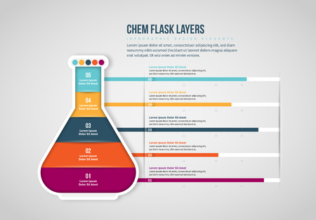 Vector illustration of Chem Flask Layers Infographic design element.