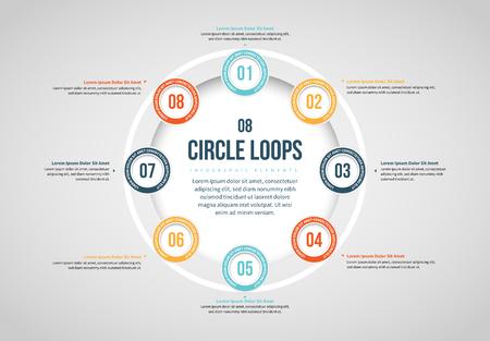 Vector illustration of Eight Circles Loop Infographic design element. Stock Illustratie