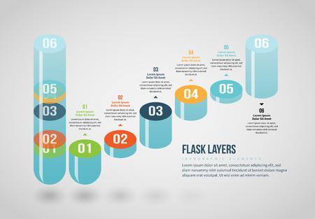 Vector illustration of Flask Layers Infographic design element. Stock Illustratie