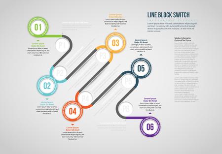 Vector illustration of Line Block Switch Infographic design element. Stock Illustratie