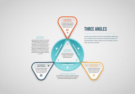 Vector illustration of Three Angles Infographic design element. Stock Illustratie